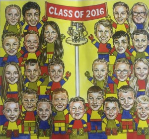 Every year we celebrate the graduation of our 6th Class with a new mural in the school. Here is our class of 2016!