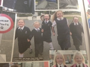 Our girls in 2nd Class, pictured in the Bray People as they made history when they enrolled in St. Peter's in August 2013.